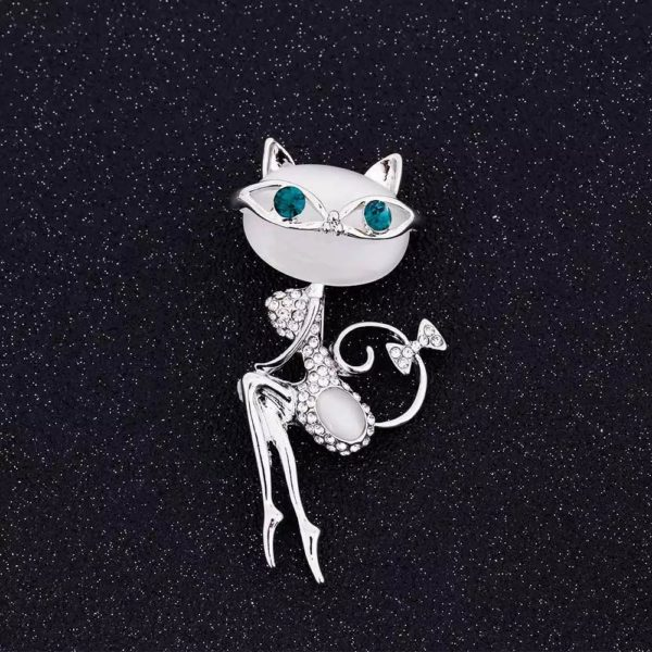 Broche chat couleur strass blanc et vert cristal