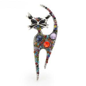 Broche chat strass multicolore