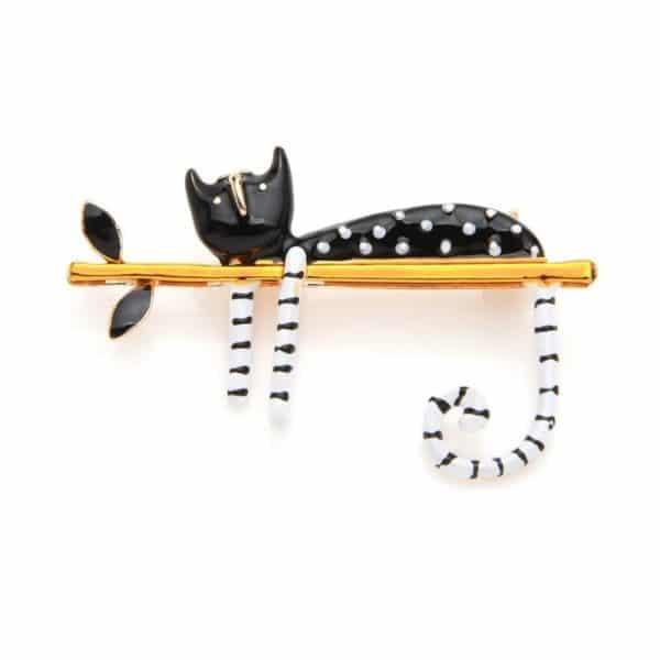 Broche chat paresseux en émail