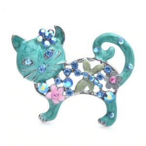 Broche chaton bleu en émail