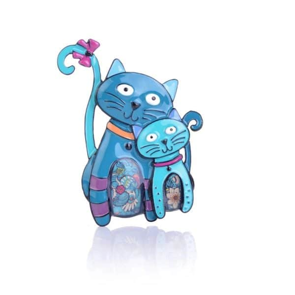 Broche chat ludique en émail bleu